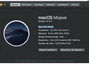 Vends mac mini 2018, i7 3,2ghz, 32moRAM, SSD 1TO
