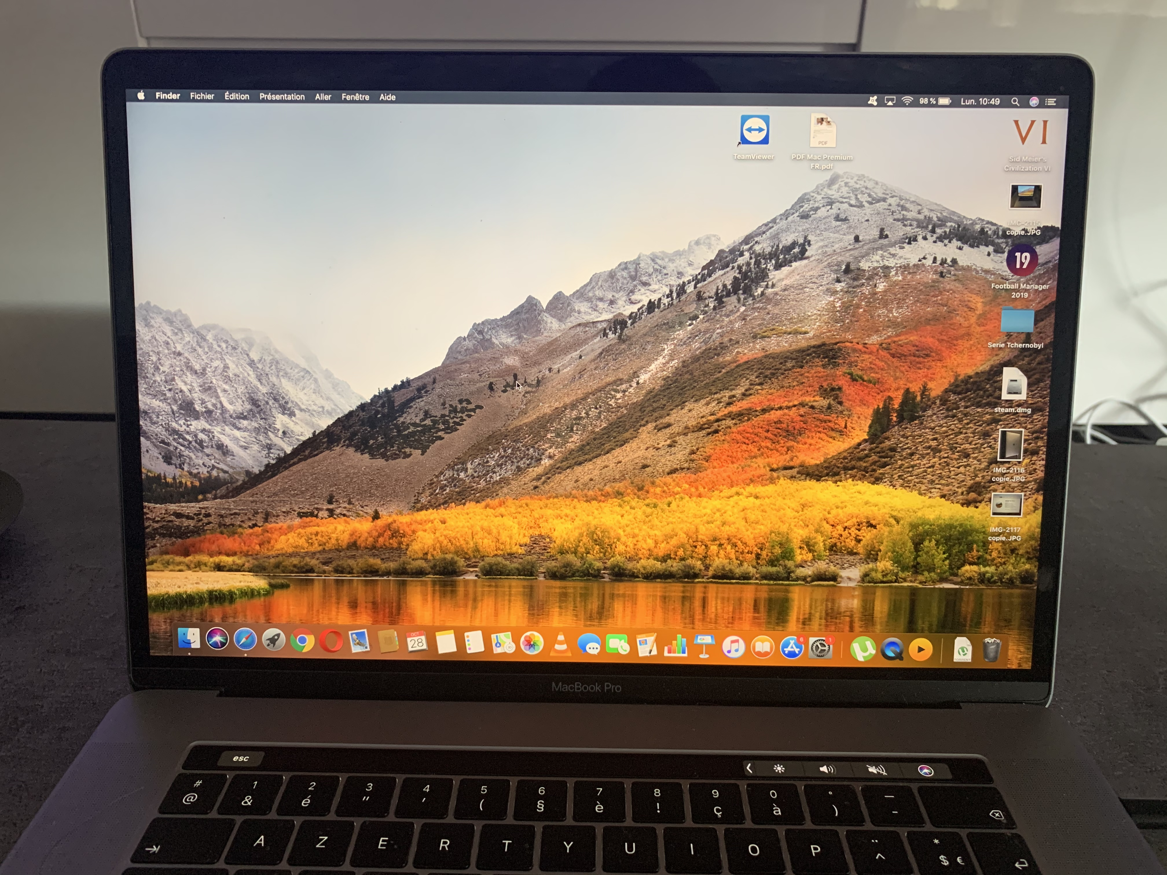Mac book pro touch bar 15 i9 16Go 2,9Ghz SSD500go