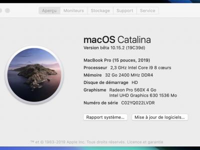 Macbook Pro Touch Bar 15 pouces Modèle 2019