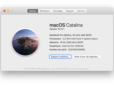 MacBook Pro 15 mi-2015, facture + emballage