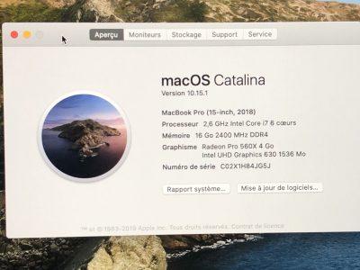 Macbook Pro 15″ 6 coeurs I7 2,6GHZ 2018