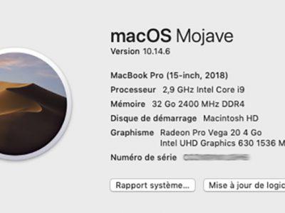 MacBook Pro 2018 i9 2,9ghz 15 pouces