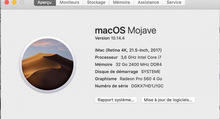 iMac 21,5 pouces/3,6 gHZ i7/ssd/ddr4/ Garantie