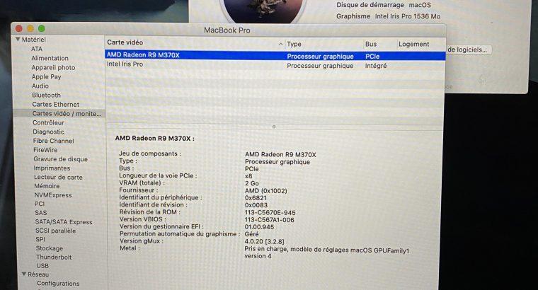 MacBook Pro 15″ – i7 – 16go – 512 SSD – AMD R9 M37