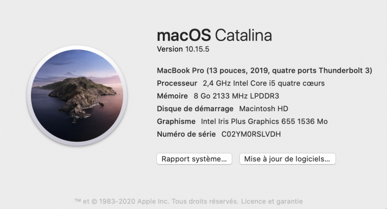 Macbook Pro Retina TouchBar 13″ Oct 2019 512go SSD