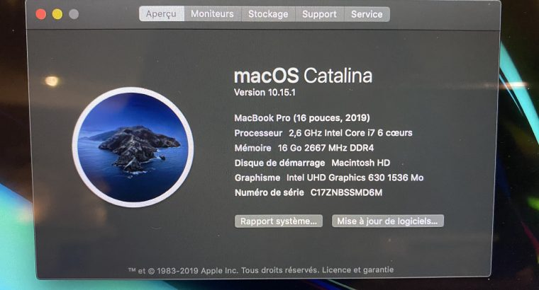 MacBook Pro – 16 pouces – 2,6ghz – Intel Core i7