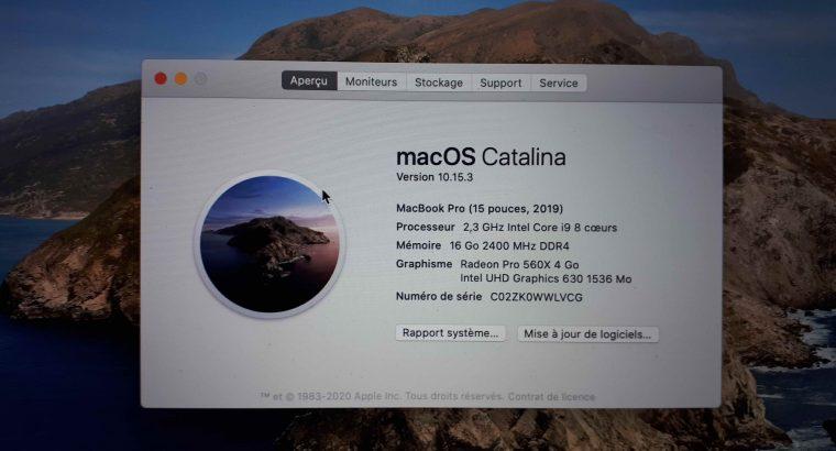 Macbook Pro 15″ Touchbar Retina 2019 2,3 Ghz i9