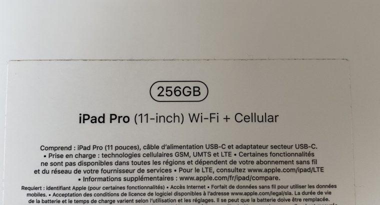 IPad Pro 11 – Wifi + cellular – 256Go
