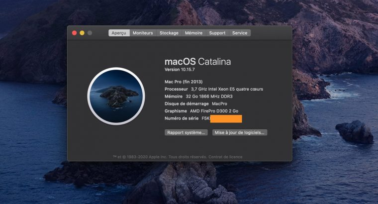 Mac Pro 6.1 – Xeon E5 3,7Ghz – 32Go RAM – 256 SSD