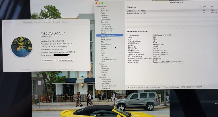 MacBook Pro 16 pouces (i9 2,3GHz, 16 Go, SSD 1To)