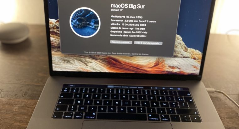 MacBook Pro Touch Bar 15″ i7 2,6Ghz SSD 256Go 16Go