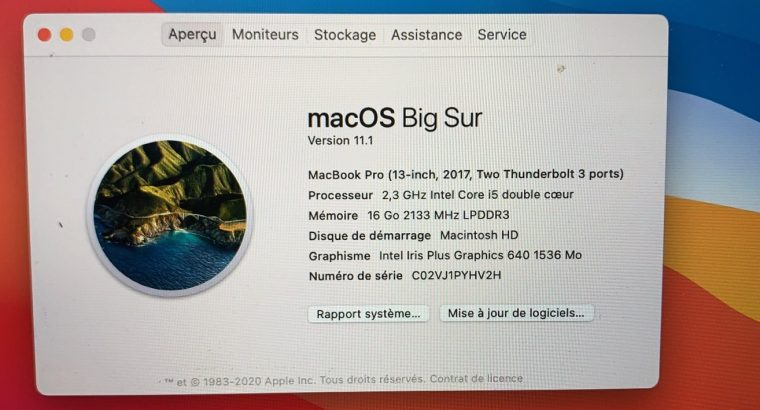 Macbook pro 13′ 201716 Go / 500Go sans touchbar