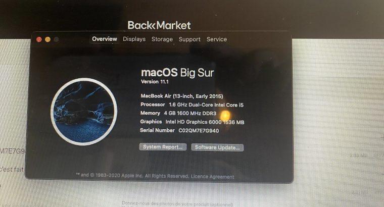 Macbook Air (2015) 4gb 128go 1.6Ghz AZERTY