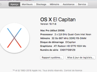 Mac Pro 3.1 début 2008