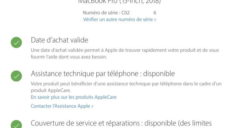 MacBook Pro 15″ 2018 i9 32GB 1TO VEGA 20 4GO + AC+