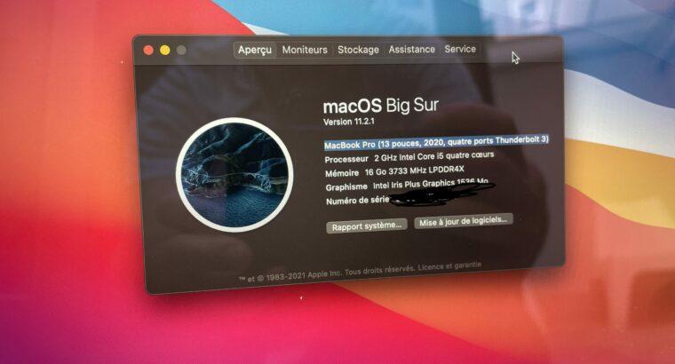 Apple MacBook Pro 13 2020 i5 2 GHz – 16 GO -512 GO