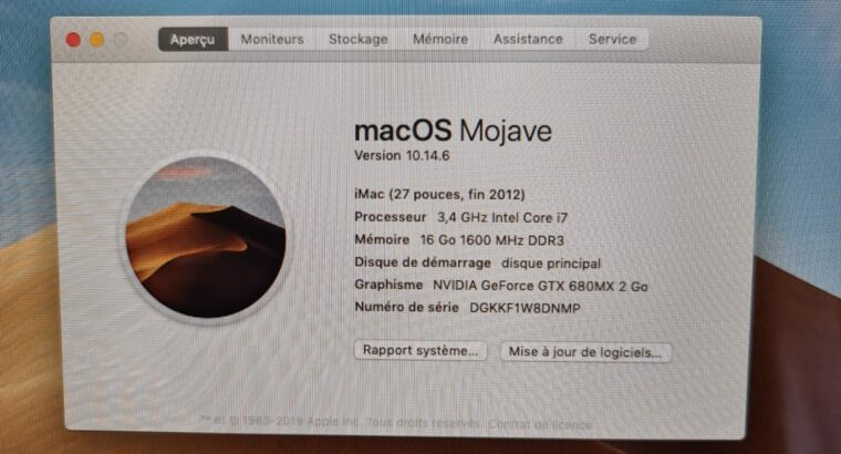 Imac 27″ 16 GO RAM + 2 disques SSD 1 Tera/128 GO