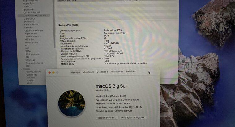 MacBook Pro 15″ i7 6 cores 2,6ghz 16/256Go 2019