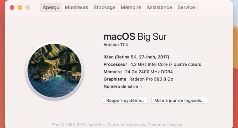 IMac 2017 27 5K i7 jusqu'à 4.5GHz, 3,12To, GPU 8GB